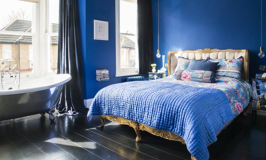 inredning blått sovrum
