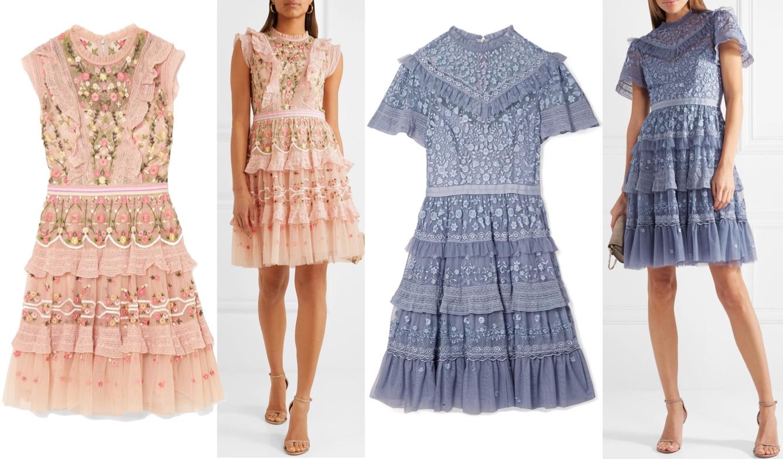 aaae9b98de96 Aprikos klänning med volanger, 3499 kr. Duvblå klänning med volanger, 4199  kr.